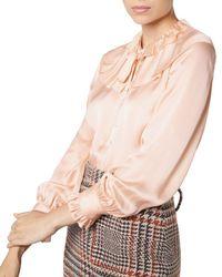 L.K.Bennett - Ariella Ruffled Silk Blouse - Lyst