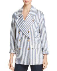 Scotch & Soda - Striped Double-breasted Linen Coat - Lyst