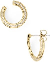 Nadri - Railed Front Back Hoop Earrings - Lyst