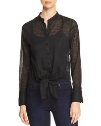 Kenneth Cole - Sheer Tie-front Top - Lyst