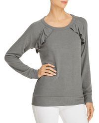 Chaser - Ruffled Cutout Sweatshirt - Lyst