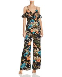 Band Of Gypsies - Cold-shoulder Peony Print Jumpsuit - Lyst