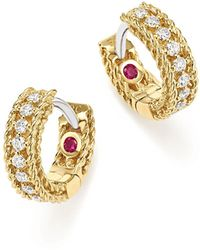 Roberto Coin | 18k White And Yellow Gold Symphony Princess Diamond Hoop Earrings | Lyst