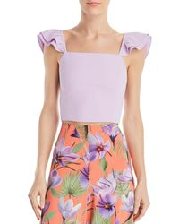 b5639367fbe Alice + Olivia - Alice + Olivia Celestia Flutter - Sleeve Cropped Top - Lyst
