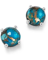 Ippolita - Sterling Silver Rock Candy® Mini Stud Earrings In Clear Quartz And Bronze Turquoise - Lyst