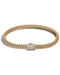 John Hardy - Classic Chain 18k Gold Extra Small Bracelet With Diamond Pavé - Lyst