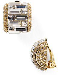 Carolee - Crystal Baguette Huggie Clip On Earrings - Lyst