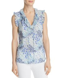 0297c77c1c3419 Rebecca Taylor Embellished Draped Silk Top in Natural - Lyst