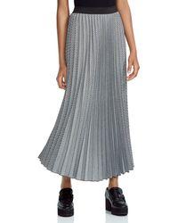 Maje - Jazia Checked Pleated Midi Skirt - Lyst