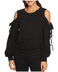 1.STATE - Ruffled Cold-shoulder Sweatshirt - Lyst
