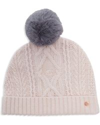 Ted Baker Kyliee Cable Knit Pom-pom Beanie