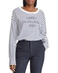 Ralph Lauren - Lauren Striped Logo Graphic Sweatshirt - Lyst