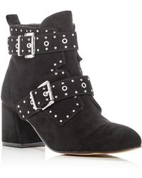 Rebecca Minkoff - Women's Logan Studded Suede Block Heel Booties - Lyst