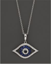 """Bloomingdale's - Diamond And Sapphire Evil Eye Pendant Necklace In 14k White Gold, 18"""" - Lyst"""
