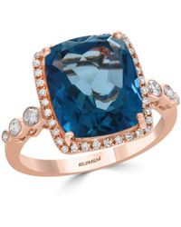 Bloomingdale's - London Blue Topaz & Diamond Bezel Ring In 14k Rose Gold - Lyst