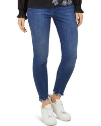 Ted Baker - Catrina Distressed-hem Skinny Jeans In Mid Blue - Lyst