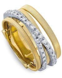 Marco Bicego - 18k Yellow Gold Goa Five Row Ring With Diamonds - Lyst