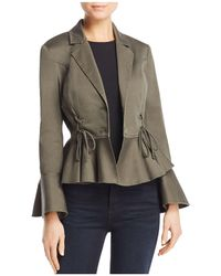 Aqua - Lace-up Peplum Jacket - Lyst