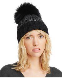 Aqua - Metallic Fur Pom Pom Hat - Lyst