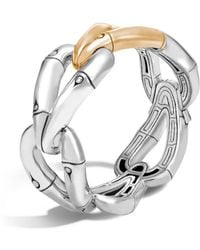 John Hardy - 18k Gold And Sterling Silver Bamboo Hinged Bangle - Lyst