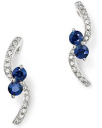 KC Designs - 14k White Gold Diamond & Sapphire Curve Earrings - Lyst