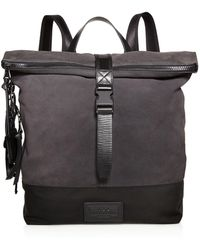 John Varvatos - Suede And Ballistic Nylon Backpack - Lyst