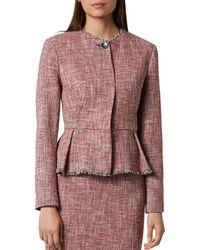L.K.Bennett - Cesilia Tweed Pleated Peplum Jacket - Lyst