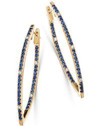 Bloomingdale's - Blue Sapphire & Diamond Inside-out Hoop Earrings In 14k Yellow Gold - Lyst