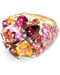 John Hardy - 18k Yellow Gold Classic Chain Cluster Ring With Multi - Gemstones - Lyst