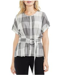 Vince Camuto - Belted Plaid Top - Lyst