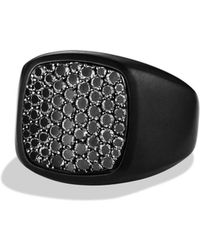 David Yurman - Pavé Signet Ring With Black Diamonds - Lyst