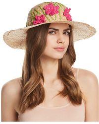Aqua - Straw Floppy Hat With Flowers - Lyst