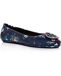 e705ce064a0 Tory Burch - Women s Minnie Floral Leather Travel Ballet Flats - Lyst