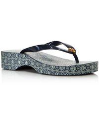 055c52ea6 Lyst - Tory Burch Thandie Printed Wedge Flip-Flop Sandal in Black