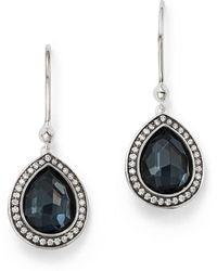 Ippolita - Stella Teardrop Earrings In Hematite Doublet With Diamonds In Sterling Silver - Lyst