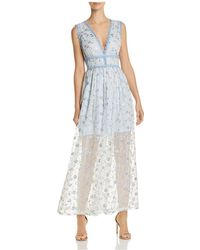 Aqua - Lace-trim Embroidered Maxi Dress - Lyst