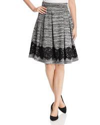 Karl Lagerfeld - Lace Hem Marled Tweed Skirt - Lyst