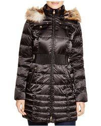 Laundry by Shelli Segal - Cinched-waist Coat With Faux-fur Trim - Lyst