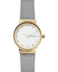 Skagen - Freja Crystal Accent Mesh Strap Watch - Lyst