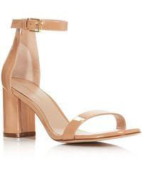 Stuart Weitzman - Women's Lessnudist Patent Leather Block Heel Sandals - Lyst