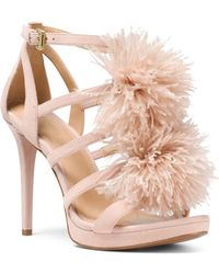 MICHAEL Michael Kors - Women's Fara Feather Pom-pom Suede Sandals - Lyst