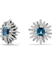 David Yurman - Starburst Earrings With Diamonds And Hampton Blue Topaz In Silver - Lyst