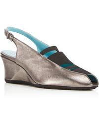 Thierry Rabotin | Cheri Metallic Slingback Wedge Sandals | Lyst