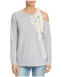 Ella Moss - Embroidered Cold-shoulder Sweatshirt - Lyst