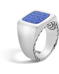 John Hardy - Classic Chain Silver Signet Ring With Transparent Blue Enamel - Lyst