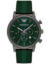 Emporio Armani - Green Strap Watch, 46mm - Lyst