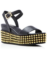 Delman - Angie Studded Ankle Strap Platform Sandals - Lyst