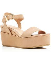 Delman - Angie Platform Wedge Ankle Strap Sandals - Lyst