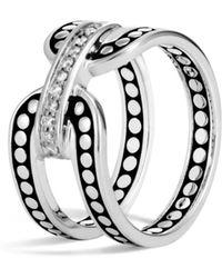 John Hardy - Sterling Silver Dot Band Ring With Pavé Diamonds - Lyst