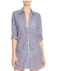 Tommy Bahama - Gingham Boyfriend Shirt Swim Cover Up - Lyst